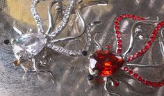 SOLD Spider Insect Silver SP Brooch Pin LOT RUBY * ICE Crystal Rhinestone HALLOWEEN Designer Figural Costume Jewelry FREE SHIPPING