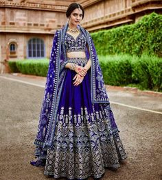 Excited to share this item from my #etsy shop: Blue silk wedding reception lehenga choli Indian custom made to measure blouse lengha skirt dupatta saree set