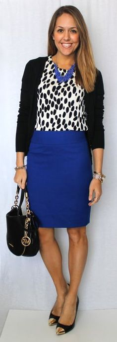 cobalt blue skirt, white and black printed shirt, black cardigan or blazer, black shoes