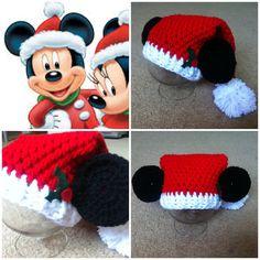 Crochet Mickey Mouse Santa Hat