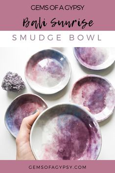I hand build each of these Bali Sunrise Bowls from Moroccan clay and use gemstones as the tools for Pottery Painting, Ceramic Painting, Ceramic Art, Ceramic Jewelry, Ceramic Bowls, Ceramic Pottery, Jewelry Dish, Moon Jewelry, Paperclay