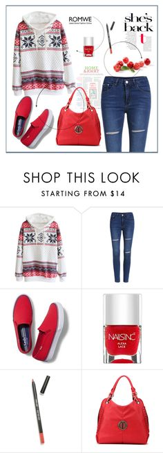 """""""Romwe -Hooded Snowflake Print Sweater Contest"""" by biange ❤ liked on Polyvore featuring Keds, Nails Inc., Sigma Beauty and MKF Collection"""
