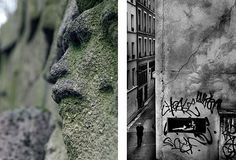 une sculpture murale et un graffiti sur les murs de paris.