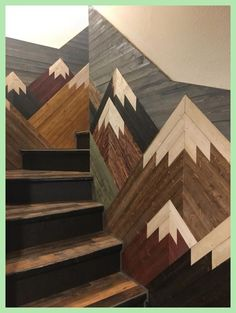 garten treppe Mountain Mosaic on Staircase Mountain Mosaic on Staircase You are in the right place about tile Stairs Here we offer you the most beautiful pictures about Home Renovation, Basement Renovations, Escalier Art, Future House, My House, My New Room, Home Design, My Dream Home, Wood Art