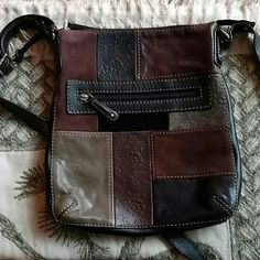 Extra Pics For Fossil Crossbody Bag See Signs Of Wear On Suede Patch And Small Hardly Noticeable Spot On Last Pic. All signs of Wear Are Hardly Noticeable Except Loose Threads Which Are On Back Of Purse And Can Be Either Cut Off Or Possibly Poked Back In With A Pin. Inside Is Brand New. Fossil Bags Crossbody Bags