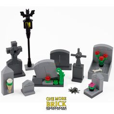 LEGO Grave Stones - Graveyard with graves. Haunted house. Halloween gravestones