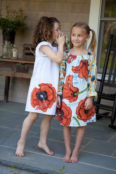 Upcycled poppy dress, sizes 6m - 6, in short sleeve, long sleeve, or 3/4 sleeve, 11161. $64.00, via Etsy.