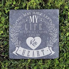 P Lab Personalized Natural Pet Memorial Stone, Never Leave My Heart Customized Headstone Tombstone Grave Marker For Dog Cat Bird Horse Negro Marquina Marble 6x6  #Cats