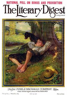 Barefoot Boy Daydreaming by Norman Rockwell from the July 29, 1922 issue of The Literary Digest