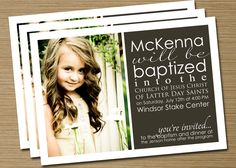 Print Your Own Boy/Girl LDS Baptism Announcement/Invitation (Jenson). $15.00, via Etsy.