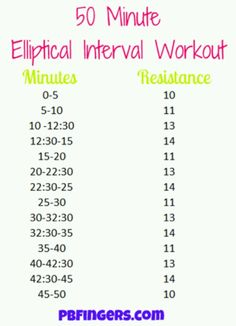 50 minute elliptical workout.