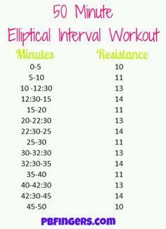 50 minute elliptical workout.
