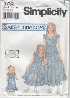 Simplicity Daisy Kingdom 9732 Moms Misses Childs Doll Pullover Sundress Size A - Baby & Children's Clothing