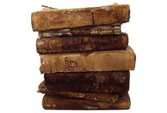 Vellum Books - Heather Cook Antiques : Vellum Books - Set of seven very worn vellum books. Beautiful paper and printing. Purchased in Southern France. 6 L x 4 W x 1 H