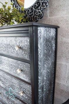 Textured-WallPaper-Dresser- GeneralFinishes- #Sponsor-Painted Furniture-decorative hardware