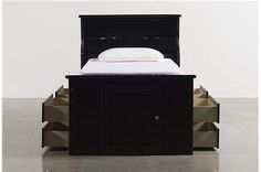 Summit Black Twin Bookcase Bed W/Double 4- Drawer Storage Unit - Main