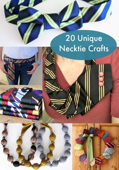 tie necklace upcycled craft how-to tutorial fabric jewelry diy upcydled fashion accessory Tie Crafts, Fabric Crafts, Sewing Crafts, Textiles, Craft Projects, Sewing Projects, Craft Ideas, Diy Necktie Projects, Old Ties