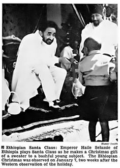 Haile Selassie Plays Santa to Young Subjects - Jet Magazine, February 1953 Haile Selassie Quotes, Rastafari Art, History Of Ethiopia, Jet Magazine, Black Royalty, African Royalty, Lion Of Judah, Black History Facts, African Diaspora