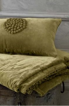 verde cushion - maybe iron initials into the velvet throw?
