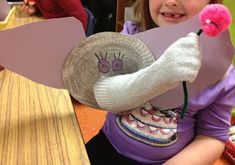 Horton Hears a Who Paper plate elephant head with sock trunk Pom pom on pipecleaner for flower