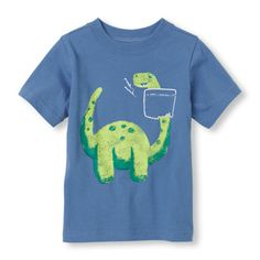 A playful graphic tee for your dinosaur fan!
