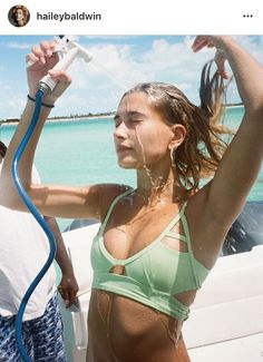 Strappy mint bikini top