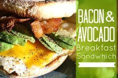 Bacon and Avocado Breakfast Sandwich - penniesintopearls.com - Easy breakfast idea that is cheap to make.