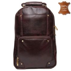 79665aed3c Leather World 13.5 Liter Brown Genuine Leather 16 Inch Fashion Backpack  with Zip Closure Travel Bag BP3005