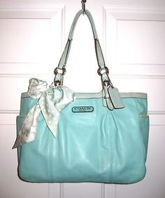 COACH 16565 EAST WEST GALLERY TOTE LEATHER HAND BAG PURSE TEAL W/ MATCHING SCARF