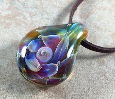 Tropical flower necklace glass beads pendant Handmade custom jewelry Lampwork beads Glass flowers Boro beads by RyanJesseeglass on Etsy https://www.etsy.com/listing/279226412/tropical-flower-necklace-glass-beads