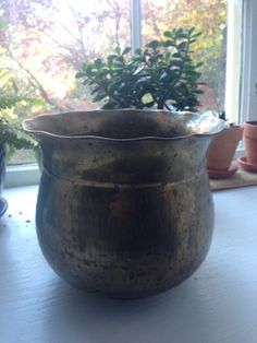 Thrifted antique brass pot.