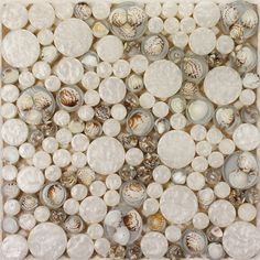 Penny round glass mosaic tile backsplash ideas for kitchen walls crystal resin with conch tile bathroom shower designs GCT3003; Size: 300x300x8mm; Color: White and Brown; Shape: Round; Usage: Multiuse