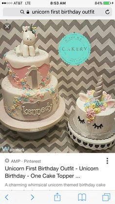 1st birthday unicorn cake and smash cake