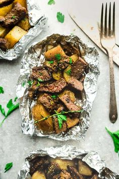 Steak and Potatoes Foil Packets - full of flavor with mushrooms, garlic, butter, herbs & perfect for busy weeknights. Best of all, cook on oven or the grill