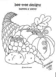 Redwork Cornocopia Basket -  November (11 of 12).