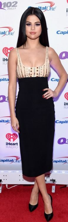Who made  Selena Gomez's black crystal dress and satin pumps?