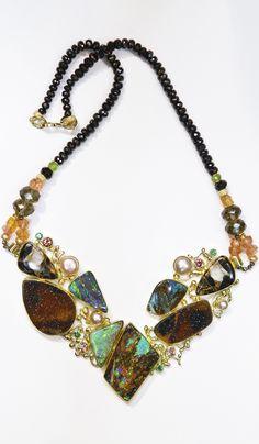 """""""Mink Coat"""" necklace with boulder opal, drusy quartz, pearl, tsavorites, zircon Opal Necklace, Opal Jewelry, Jewelry Art, Beaded Jewelry, Fine Jewelry, Jewelry Necklaces, Jewelry Design, Jewelry Making, Silver Necklaces"""