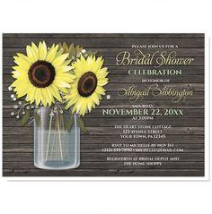 Bridal Shower Invitations - Rustic Sunflower Wood Mason Jar – Artistically Invited
