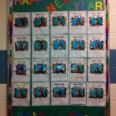 New years bulletin board. Each child wrote a resolution and the decorated it... We took pictures with party hats and noise makers.