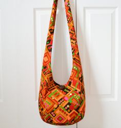Hobo Bag Vintage Sling Bag Geometric Retro by 2LeftHandz on Etsy, $38.00