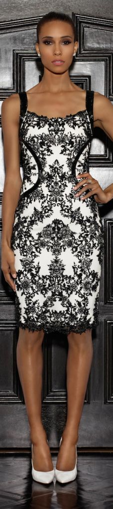 Lorena Sarbu ~ Resort White Midi Dress w Black Embroidered Lace 2015