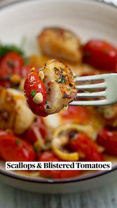 Shellfish Recipes, Seafood Recipes, Vegetarian Recipes, Dinner Recipes, Cooking Recipes, Healthy Recipes, Clean Eating, Healthy Eating, Scallop Recipes