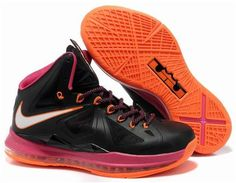buy popular 83b08 29cd6 Nike Lebron 10 Black Orange Pink New Nike Shoes, Sneakers Nike, Air Jordan  Rétro