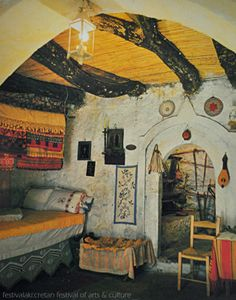Bedroom in a traditional cretan house-Crete-Greece