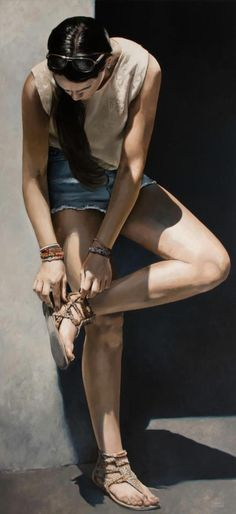 """Look up there"" - Marc Figueras, oil on canvas {hyperreal female figure artwork painting}"