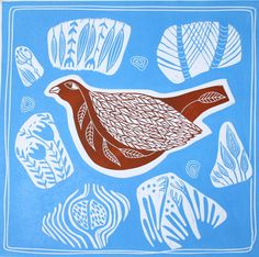 linocutSoulmates IIbirdabstractsky by linocutheaven on Etsy