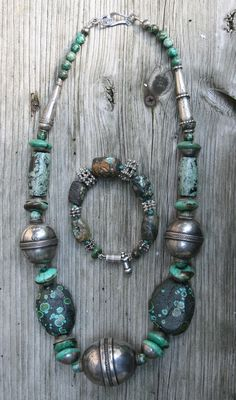 old turquoise made with old silver beads from Yemen and Afghanistan