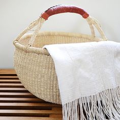 Woven Market Basket / Throw Basket Dimensions: 17 Dia x 15 H Wicker can easily be reshaped by getting damp and reshaping by hand