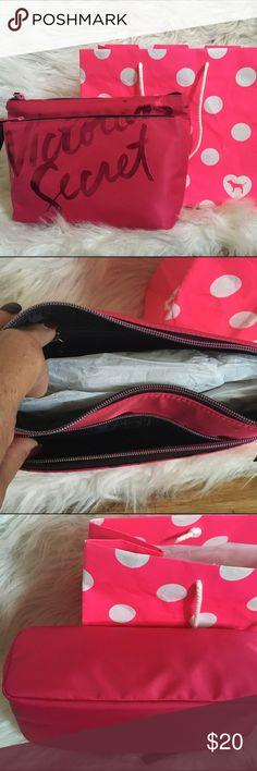 "Victoria's Secret double pocket clutch Nice cute double pocket clutch bag with a zipper pocket inside. Victoria's Secret logo in front. Pink bag included. Measurements are: width/11"" length 8"" Victoria's Secret Bags Clutches & Wristlets"