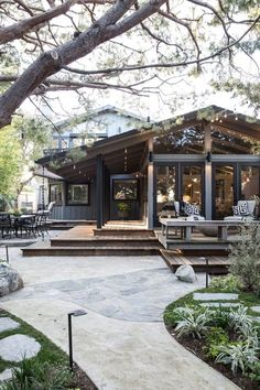 Modern, rustic exterior and patio | California ranch style home